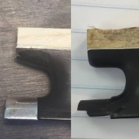 Bow restoration, thumb projection rebuild, before and after