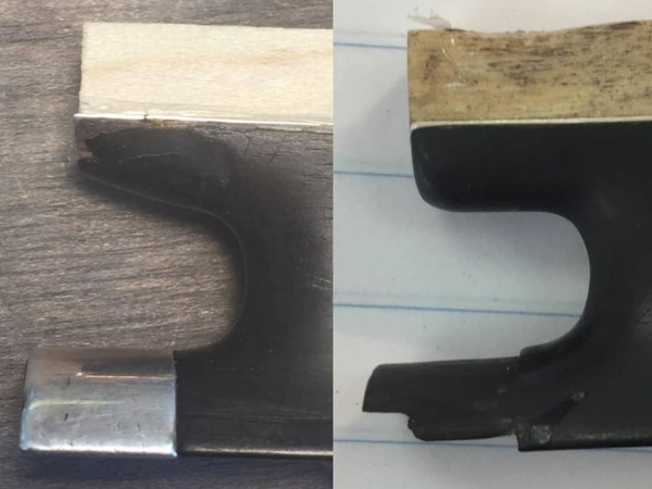Bow repair, before and after